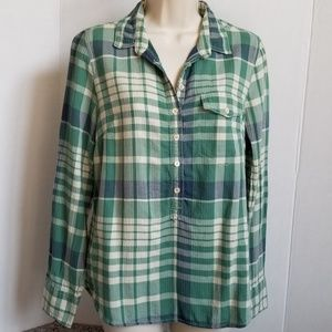 J. Crew Green Plaid Blouse
